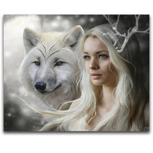 Full,Round,Diamond Embroidery,Girl,Animal,Wolf,5D,Diamond Painting,Cross Stitch,3D,Diamond Mosaic,Decoration,Needlework,Gift(China)