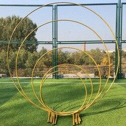 Cercle mariage arc fond en fer forgé étagère accessoires décoratifs bricolage rond fête fond étagère fleur avec cadre