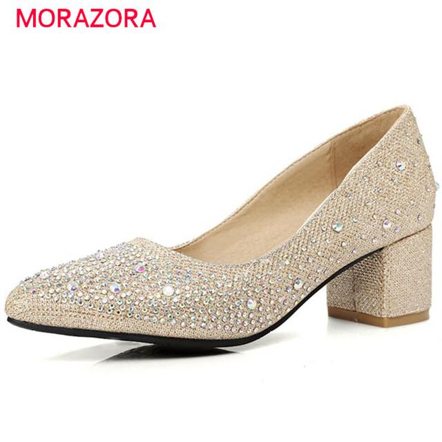 Morazora contratado fashion square tacones altos zapatos de boda punta estrecha shallow partido mujeres bombas tamaño grande 34-45 sola zapatos