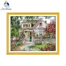 Joy Sunday Scenery style Garden Villa cross stitch alphabet designs stamped or counted needle work kits stitch kits online