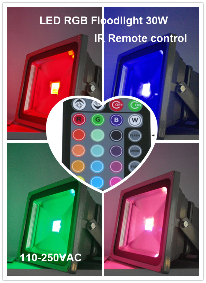 ФОТО Hot sale,good quality,high power 30W LED RGB floodlight,Color changing,Dimmable,IR remote contro,110-250VAC