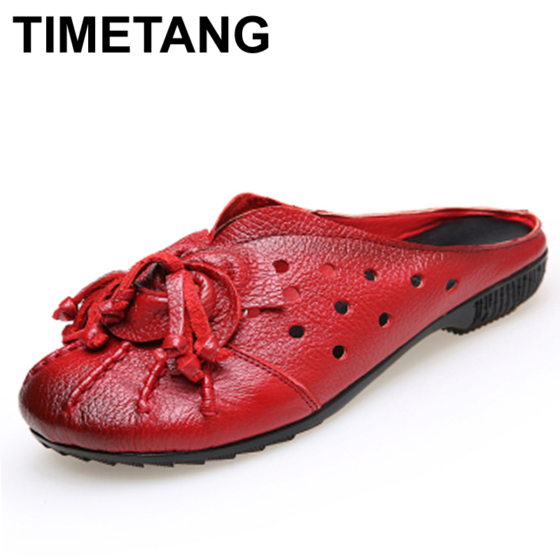 TIMETANG Ethnic Style Genuine Leather Women Shoes Handmade Flower Slides Flat shoes folk-custom vintage hollow out flat shoes original handmade autumn women genuine leather shoes cowhide loafers real skin shoes folk style ladies flat shoes for mom sapato