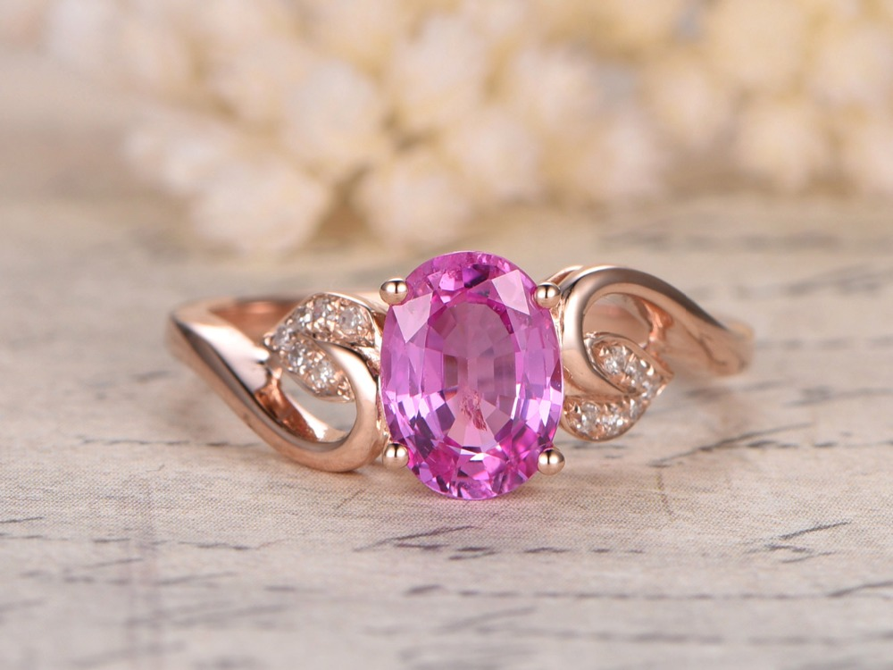Myray Natural Pink Sapphire Genuine Gemstone Engagement