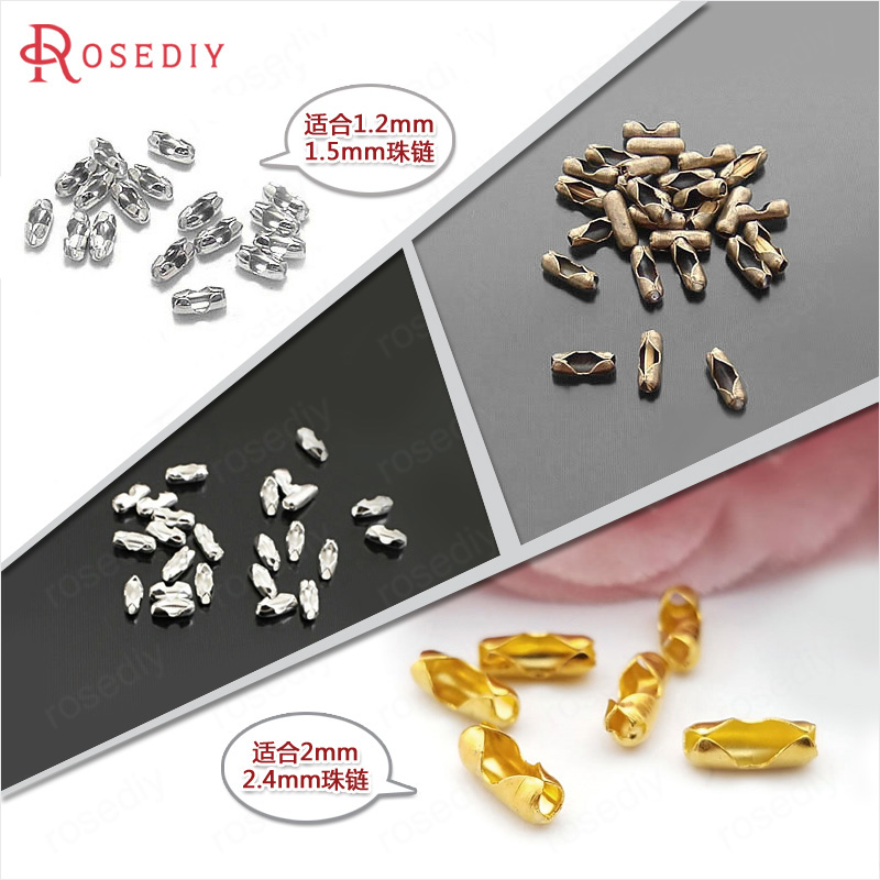 (12948)200PCS Iron Or Brass 1.2-1.5MM And 2-2.4MM Ball Chain Connected Clasps For Necklace Making Jewelry Accessories Wholesale