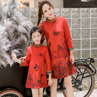Spring Matching Family Outfits Butterfly Print Mommy And Me Mother Daughter Dresses Long Sleeve Family Matching Clothes Comfort