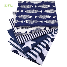 Chainho,Dark Blue Series,Printed Twill Cotton Fabric For DIY Quilting&Sewing Baby&Child/Sheet,Pillow,Cushion Material,50x160cm