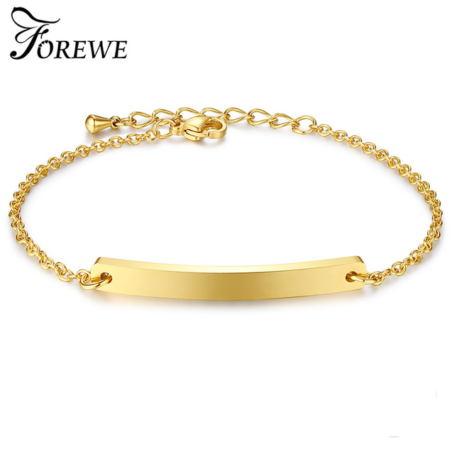 Gold Flat Bar Charm Bracelet Women Custom Engraved Name Stainless Steel Jewelry Personalized Bracelets For