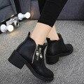2016 Nova Moda Primavera Inverno das Mulheres Zíper Lateral de Salto Baixo Ankle Boots botas Das Mulheres Martin Botas Sapatos Casuais Preto mujer