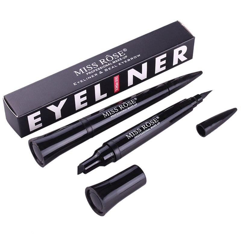 Double Headed Seal Eyeliner pencils Black wing Stamps Eye liner Stamp Pen 2 in 1 Waterproof Eyes Make Tool Maquiagem in Eyeliner from Beauty Health