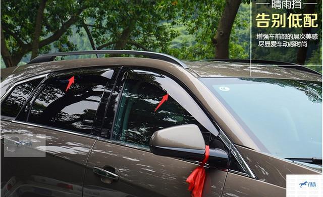Mais moda Para Cadillac SRX 2012-2014 Viseiras Da Janela Toldos Viseira Deflector de Vento Chuva Ventilação Guarda