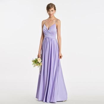 Tanpell spaghetti straps bridesmaid dress lavender sleeveless floor length a line gown women prom long formal bridesmaid dresses