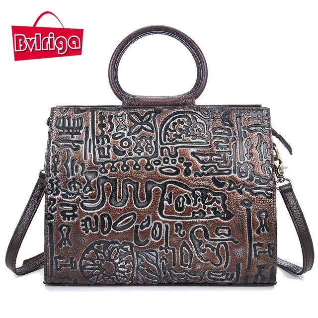 BVLRIGA Women leather handbags Vintage shoulder bags luxury handbags women bags designer high quality genuine leather bag 2017