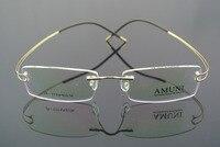 100% Luxury Titanium Gold Eyeglass Frame Glass Rimless Man Women Light Spectacles RX