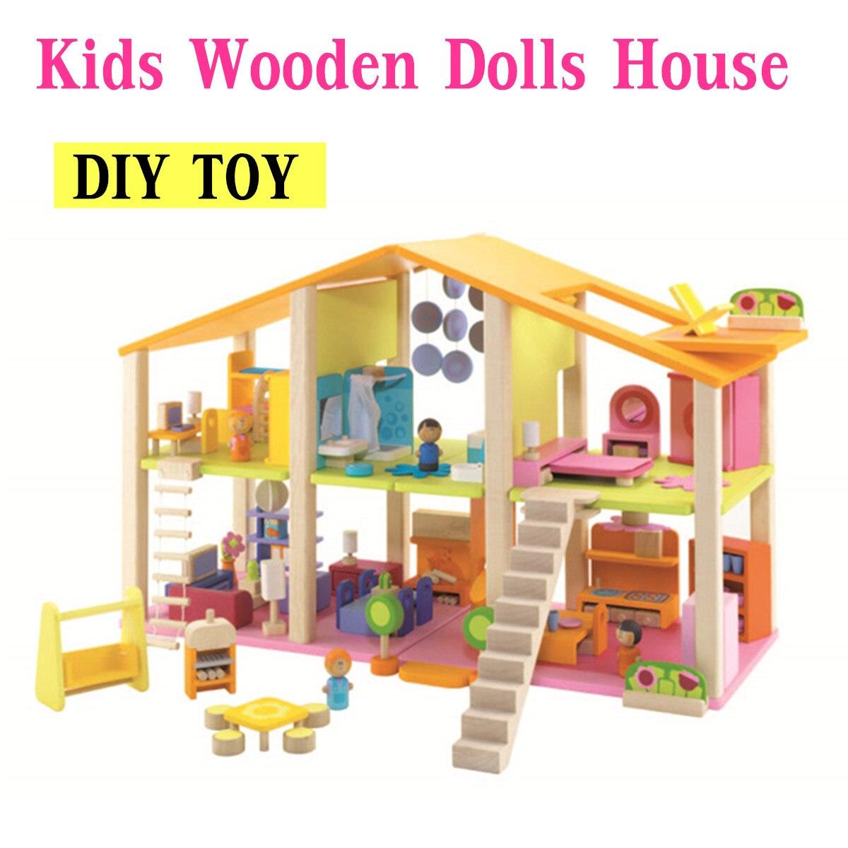 DIY Кукольный дом Deluxe мебели и строительных деревянный миниатюрный детские игрушки блоки подарки безопасные нетоксичные Краски оборудовани
