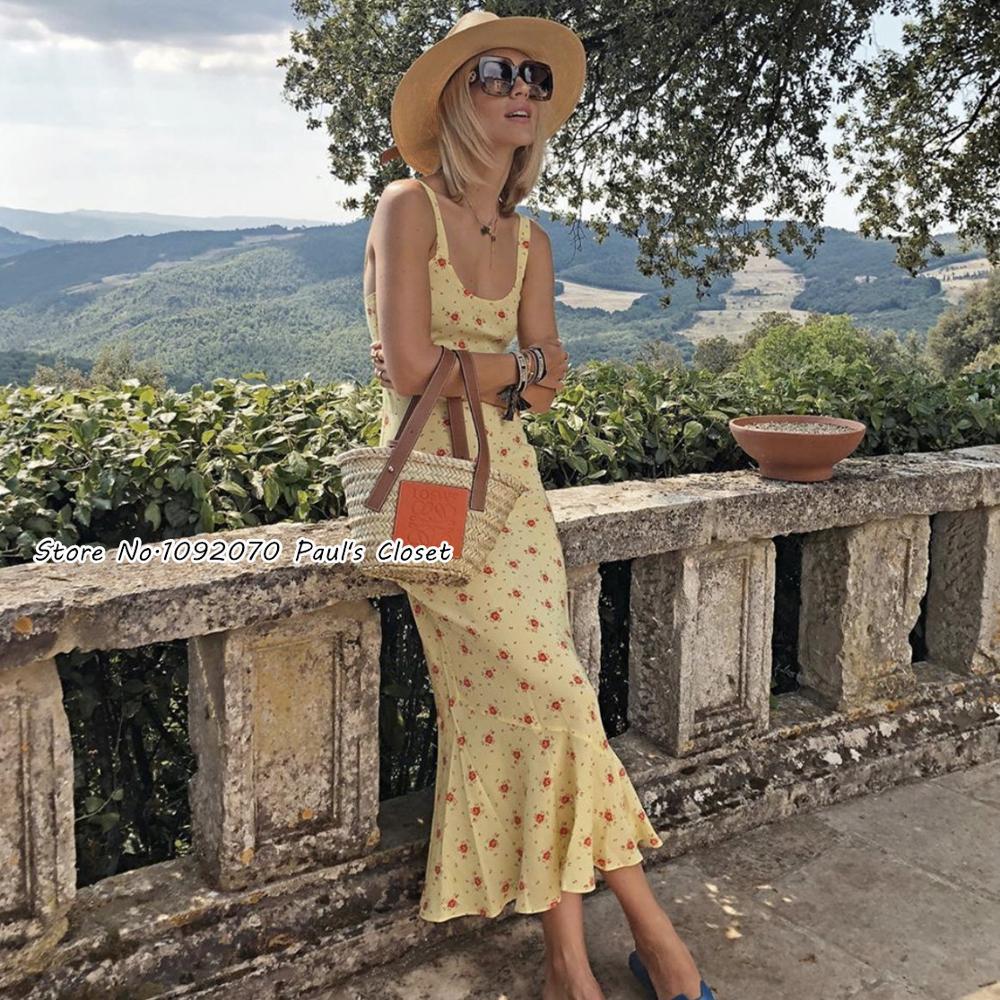 Femmes Allegra Verona robe soie jaune et rose imprimé Floral cheville longueur Slip robe queue de poisson