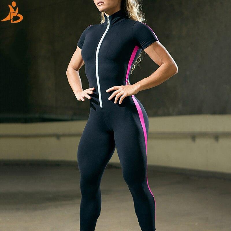 Short Sleeve Zipper Patchwork Tracksuit Women Sportwear Sport Suit  - Yoga Set