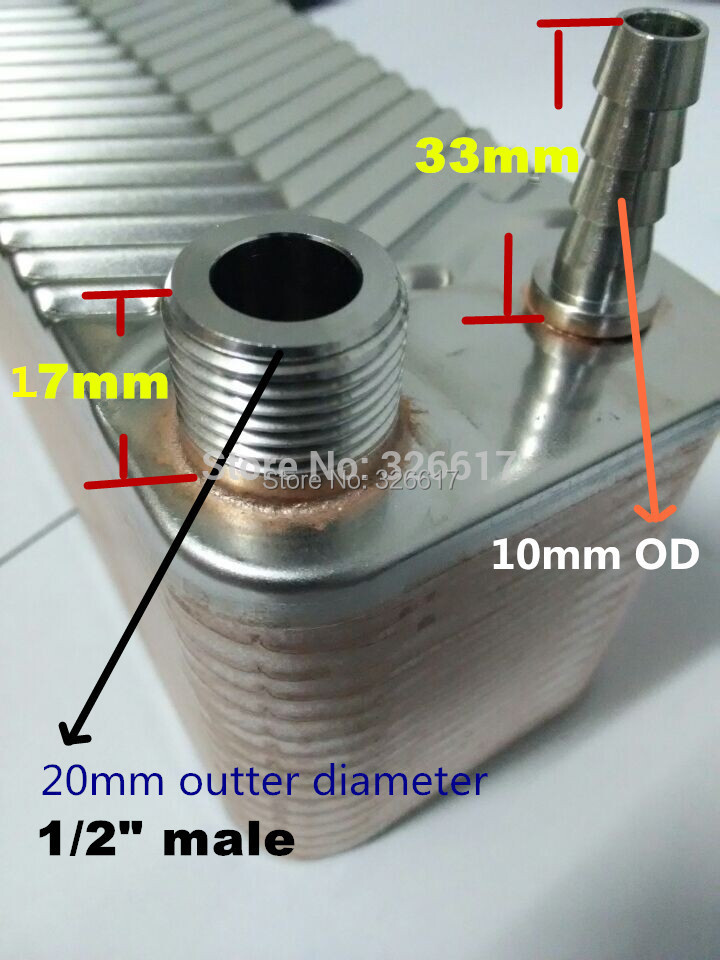 30 Plates Stainless Steel Plate Wort Chiller Home Brewing Beer Chiller SS304 10mm Garden Hose Barb Without Brass Hose Barb free shipping 2pcs lot 1 2 sanitary stainless steel sample valve 10mm od hose barb