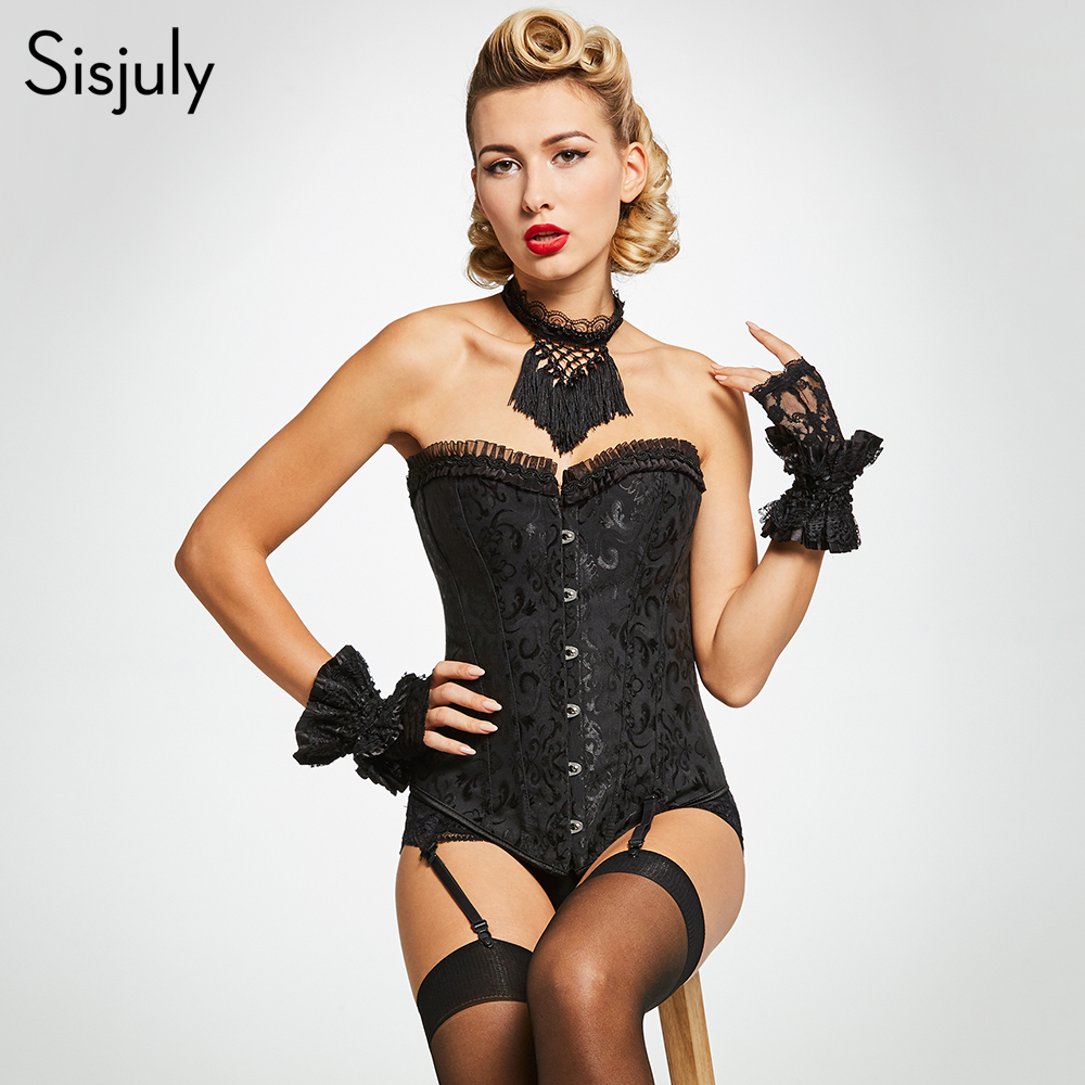 Sisjuly summer women   corset   sexy black lace strapless lace up evening club temptation party ladies sexy   bustiers     corsets