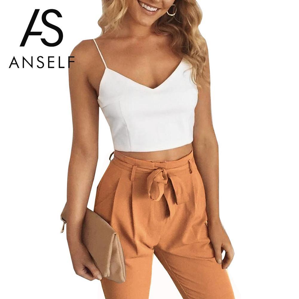 סט שתי חתיכה סקסית Anself חיתוך למעלה V צוואר Vest Slim ארוך מכנסיים חליפות מוצקים קיץ תלבושות לנשים 2 Piece סט למעלה מכנסיים