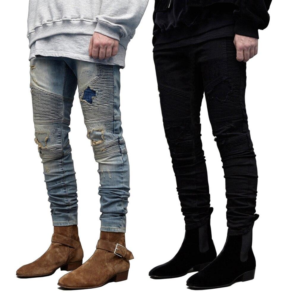 2016 Männer Dünne Biker Jeans Design Mode Strechy Jeans Für Männer E8701