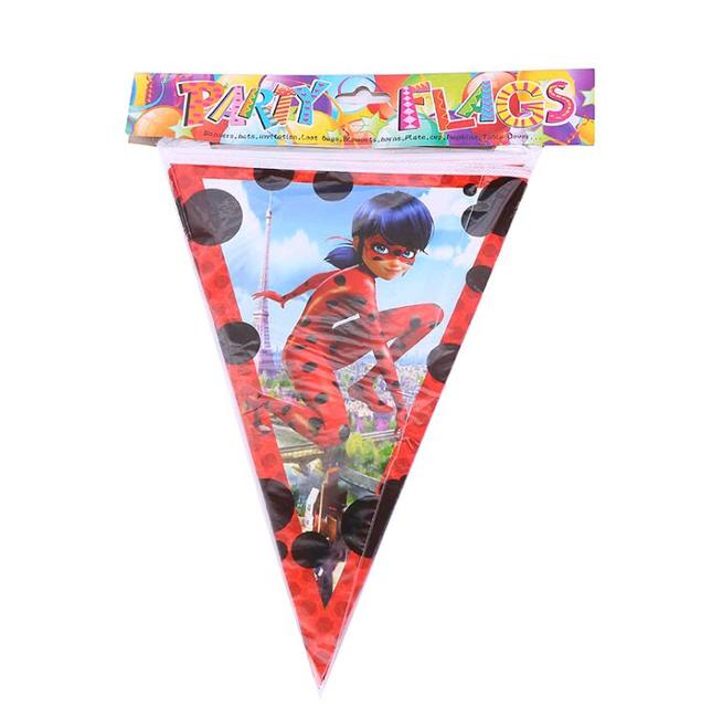 10pcs lot miraculous ladybug banner and flag cartoon theme party for