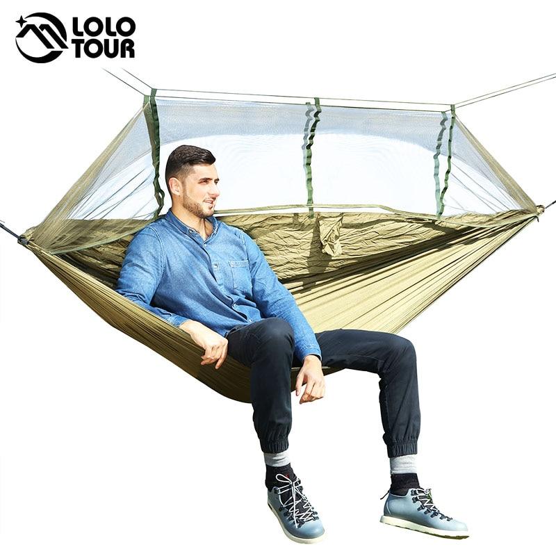 1-2 personas exterior mosquitera Red de paracaídas hamaca Camping colgante cama de dormir columpio portátil doble silla Hamac ejército verde