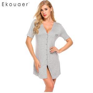Image 5 - Ekouaer camisola sexy feminina, camisola de manga curta com botão, roupa para dormir, vestido de noite, roupa feminina de casa