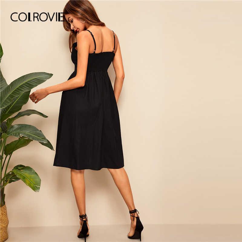 COLROVIE/черное однотонное платье на пуговицах с двумя карманами, сексуальное платье средней длины на бретельках для женщин 2019, летние повседневные женские платья без рукавов