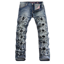 Unique Ddesigner Europe and American Men's Fashion Punk Style Slim Hole Jeans Male Personality Patchwork Denim Trousers