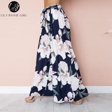 Boho Floral Print High Waist Wide Leg Pants