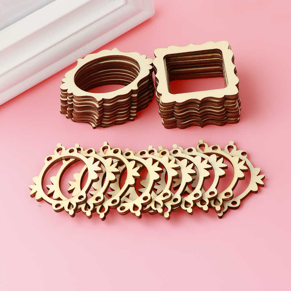 30Pcs/set Unfinished Frame Carved Wooden Ornaments Embellishment For Scrapbooking Card Wall Tree DIY Crafts Decor 3 Types