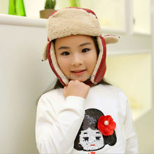 DT507 Fashion Kids Winter Russian Hat Cap Children PU Leather Warm Aviator Hat Outdoor Ski Riding Cap Child Trapper Bomber Hat