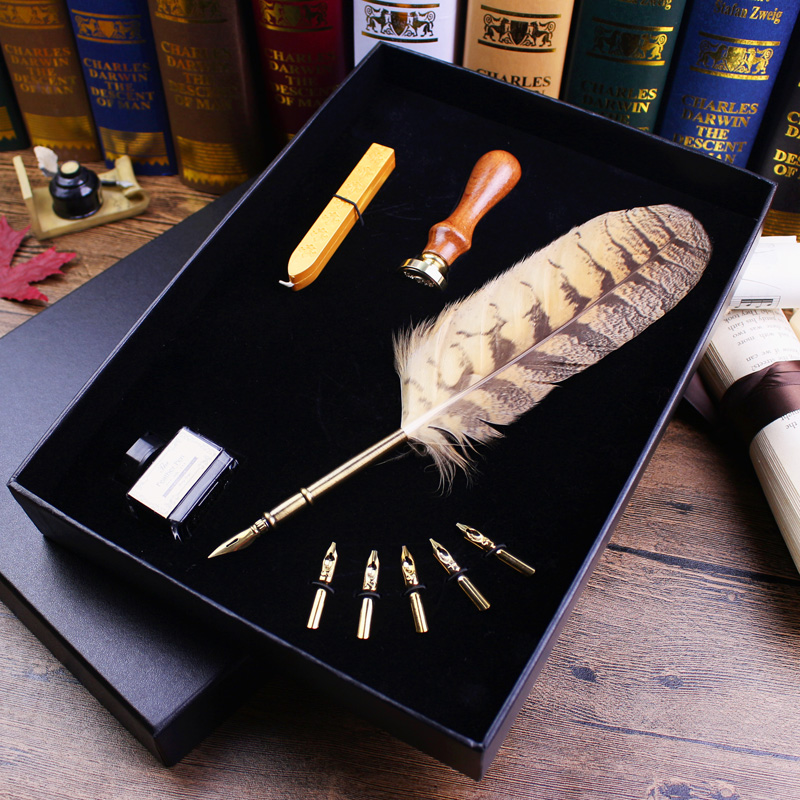 лучшая цена Deluxe Natural Owl Feather Antique Dip Pen Set