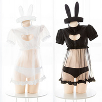 Kawaii Bunny Girl Heart Hollow Out Perspective Sexy Women Cosplay Cute Nurse's Uniform Set Whith Tail Lingerie Suit Black+white