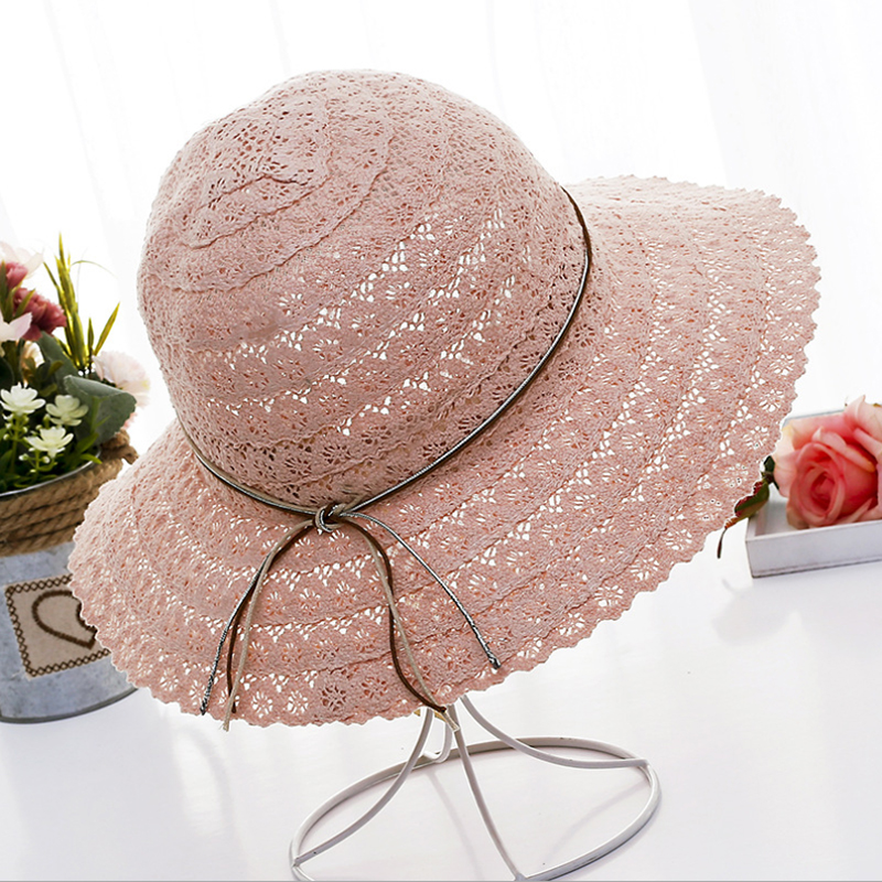 Summer fashion Foldable Bucket cap Cotton Beach bow sun hats for Women Fashion Women Beach Sun Hat Foldable Brimmed Straw Hat in Women 39 s Sun Hats from Apparel Accessories