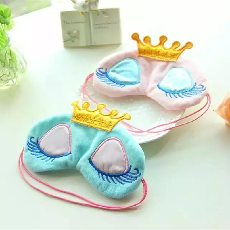 1pc Cartoon Plush Crown Eye Mask Shade Light Cover Mask Stuffed Plush Animals Eye Mask Kid Girl Gifts
