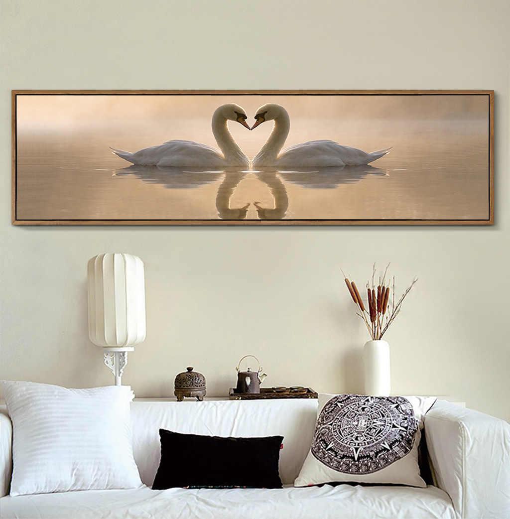 Современная Любовь купе Лебедь картины на холсте с изображением пейзажа Свадебные декоративный постер репродукции, настенное искусство картины для спальни Home Decor