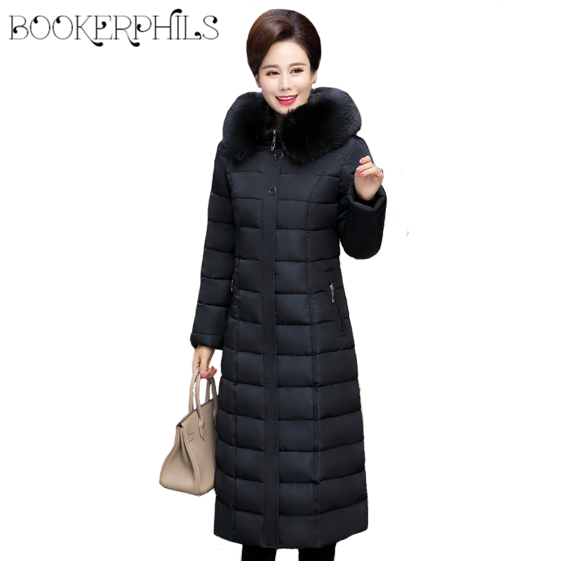 Autumn Winter Down Jacket Women Fur Collar 2019 Plus Size Thick Warm Cotton Winter Coat Female Hooded Long   Parka   Outerwear 5XL