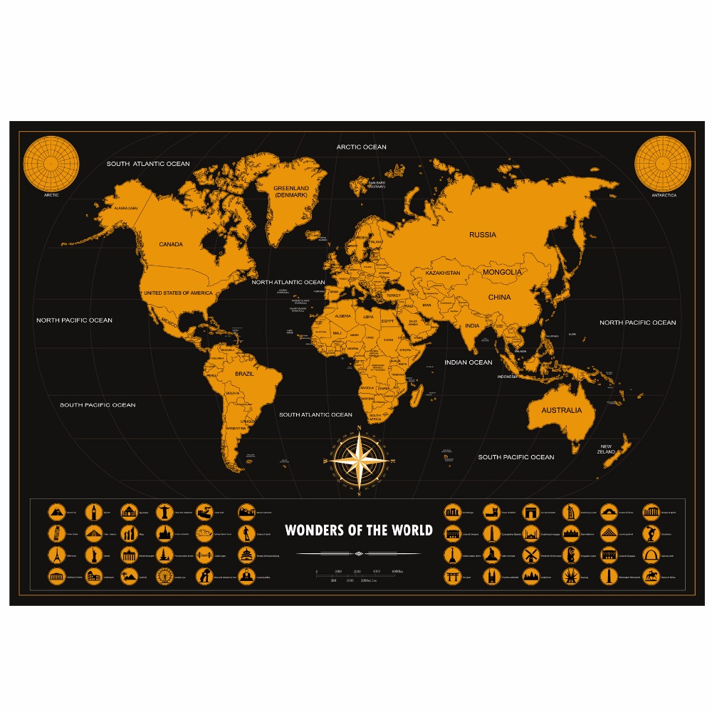 deluxe scratch off world map colorful travel poster with. Black Bedroom Furniture Sets. Home Design Ideas