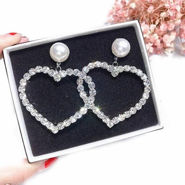 Массивные большие серьги с сердечком для женщин, серьги-подвески с кристаллами, 2018 модные ювелирные изделия, корейский стиль, для вечеринки, улицы