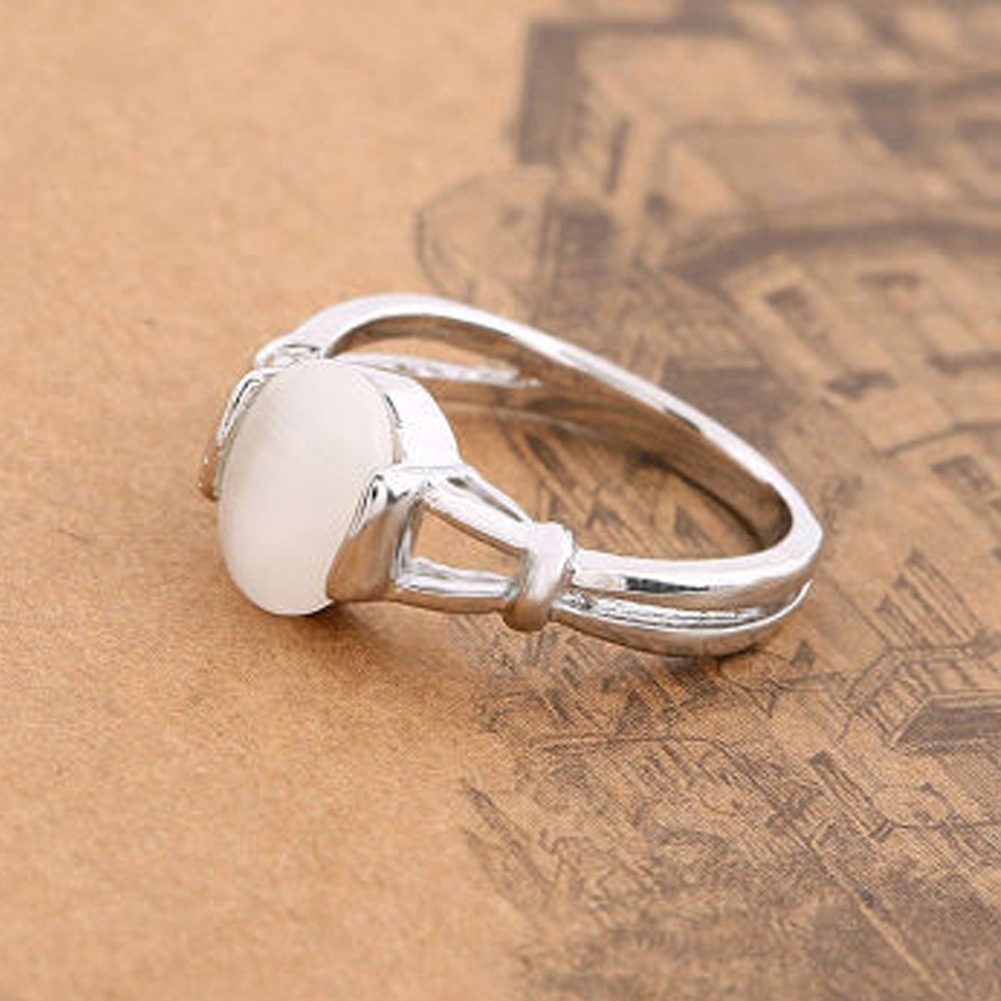 Fashion Hot Movie Twilight Bella Moon Silver Plated Ring With Opal Section  Wholesale(china (