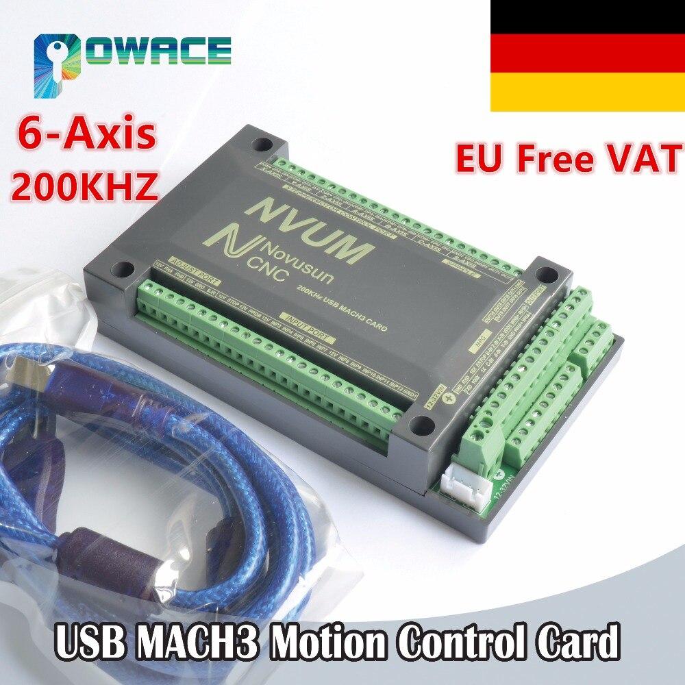 EU Delivery Free VAT 6 Axis 200KHZ USB Mach3 NVUM Motion Control Card CNC Controller
