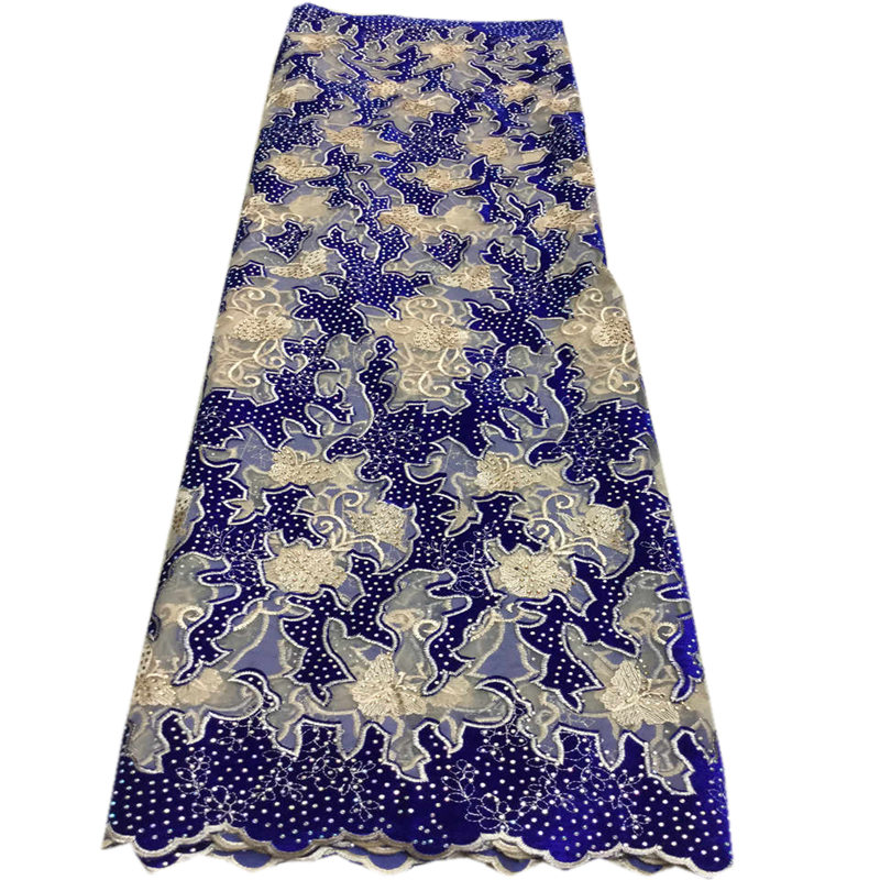 Blue Color Handcut French Velvet Lace Fabric 2019 Embroidered Nigerian French Tulle Mix Velvet Lace Fabric