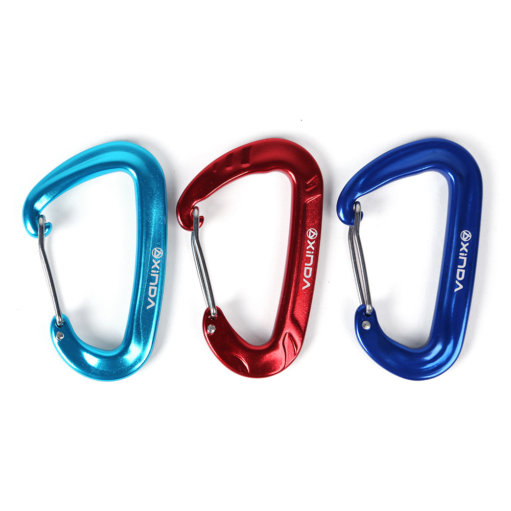 12KN Aluminium Spring Clip Carabiner For Climbing Backpack Hook Camping Hiking Equipment Safety Gear Mountaineering Accessory 25kn professional carabiner d shape safety master lock outdoor rock climbing buckle equipment