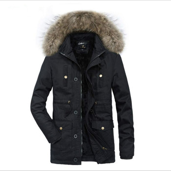 Hooded Long Down Parkas Men Winter Thicker Warm Down Jackets Wool Liner Winter Parkas New Fashion Men Cotton Casual Warm Parkas фото