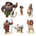 6 unids/set 6-12 cm Princesa Moana Maui Jefe Tui Tala Heihei Pua Brinquedo Figura de Acción Juguetes Para Los Niños Regalo de Año nuevo