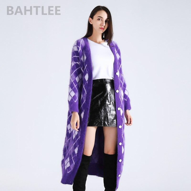 BAHTLEE 2018 зима для женщин Ангора кролик surper длинные кардиганы для вязание свитер looser утепленная одежда геометрический узор карман