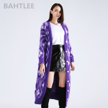 BAHTLEE winter womens angora rabbit surper long cardigans knitting sweater  looser keep warm GEOMETRIC pattern pocket