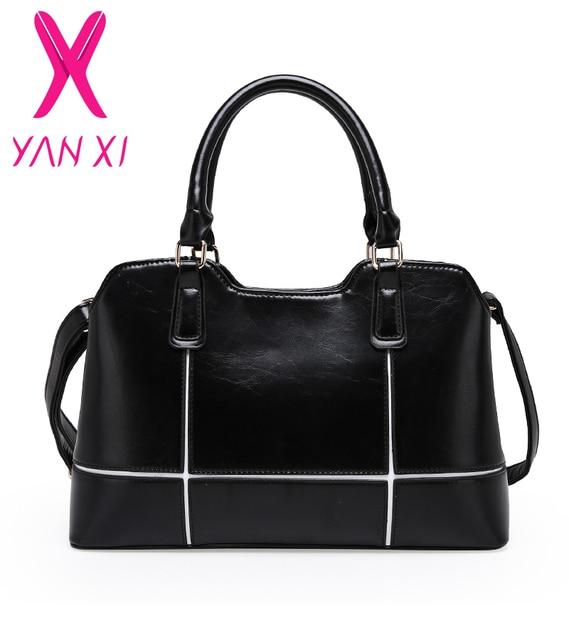 YANXI 2017 Hot Sale arrive 5 colors business solid handbags shoulder  tote designer PU leather messenger high quality women bag