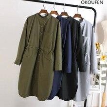 Okoufen тонкая талия средний-длинная рубашка женщин свободную рубашку Длинные рукава casuar блузка рубашка модная одежда